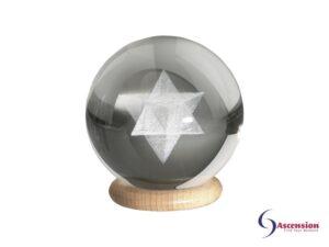 Merkaba sphere ascension een geënergetiseerde glazen bol met gelazerde MerKaBa erin
